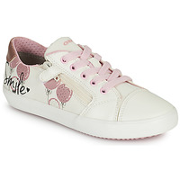 Chaussures Fille Baskets basses Geox J GISLI GIRL B Blanc / Rose