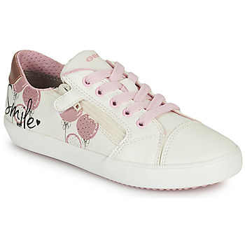 Chaussures Fille Baskets basses Geox GISLI GIRL Blanc / Rose