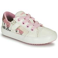 Chaussures Fille Baskets basses Geox GISLI GIRL Blanc / Rose