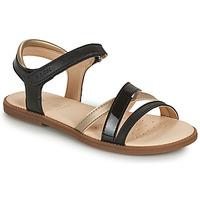 Chaussures Fille Comme Des Garcon Geox SANDAL KARLY GIRL Noir / Doré