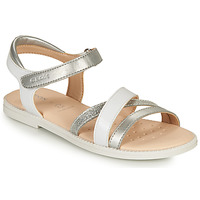 Chaussures Fille Comme Des Garcon Geox SANDAL KARLY GIRL Blanc / Argenté