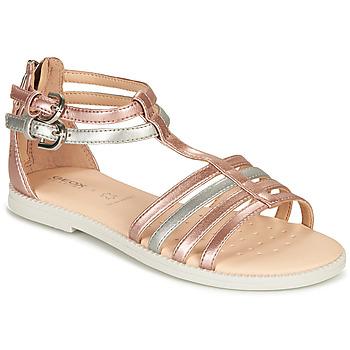Chaussures Fille Sandales et Nu-pieds Geox SANDAL KARLY GIRL Rose / Argenté