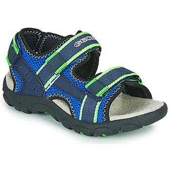 Chaussures Garçon Sandales sport Geox JR SANDAL STRADA Bleu / Vert