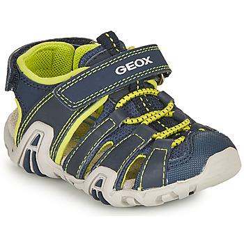 Chaussures Garçon Sandales sport Geox SANDAL KRAZE Marine / Lime