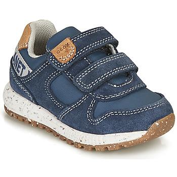 Chaussures Garçon Baskets basses Geox ALBEN BOY Bleu / Marron