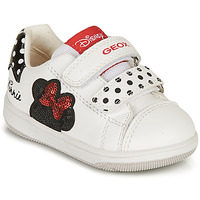 Chaussures Fille Baskets basses Geox NEW FLICK GIRL Blanc / Noir / Rouge