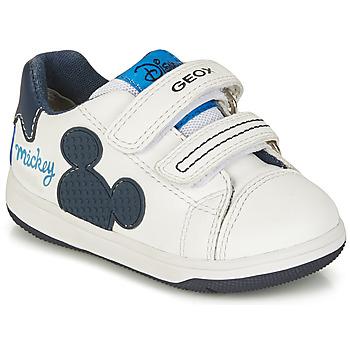Chaussures Garçon Baskets basses Geox NEW FLICK BOY Blanc / Bleu