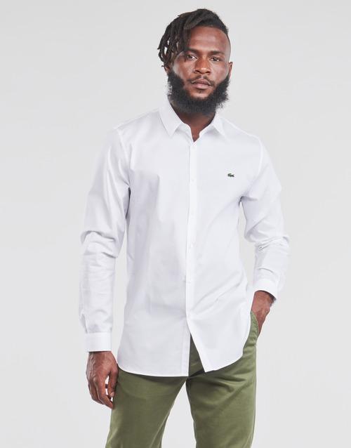 Vêtements Homme Chemises manches longues Lacoste PITTA Blanc