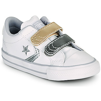 Chaussures Fille Baskets basses Converse STAR PLAYER 2V METALLIC LEATHER OX Blanc