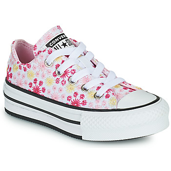 Chaussures Fille Baskets basses Converse CHUCK TAYLOR ALL STAR EVA LIFT CANVAS BRODERIE OX Blanc / Rose