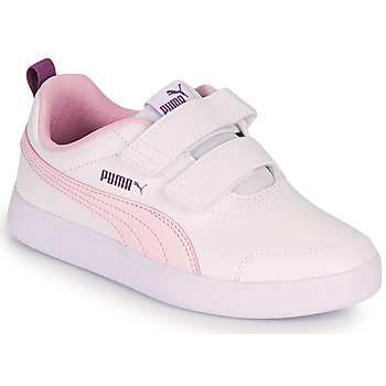 Chaussures Fille Baskets basses Puma COURTFLEX PS Blanc / Rose