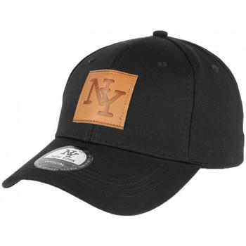 Accessoires textile Homme Casquettes Hip Hop Honour Casquette Baseball Noire Ecusson NY Cuir Marron Classe Major Noir