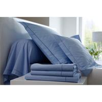Maison Draps housse Blanc Des Vosges Bleu Ciel coton bdv - 80 x 200 (1 pers) Bleu Ciel coton bdv