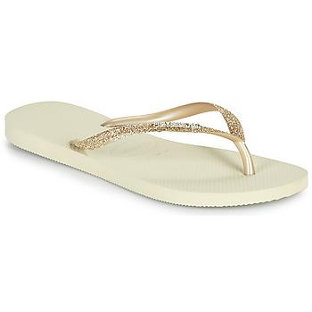 Chaussures Femme Tongs Havaianas SLIM GLITTER II Beige