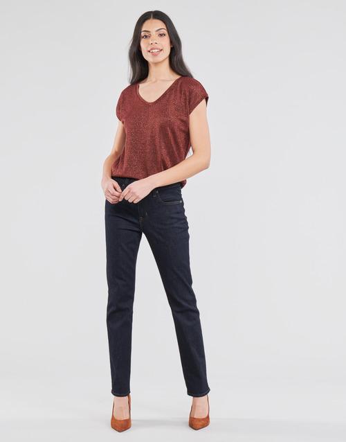 Vêtements Femme Jeans droit Lauren Ralph Lauren MIDRISE STRT-5-POCKET-DENIM Marine