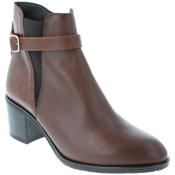 Chaussures Femme Bottines Amoa Bottines COURGIS Zip MARRON/SERPENT
