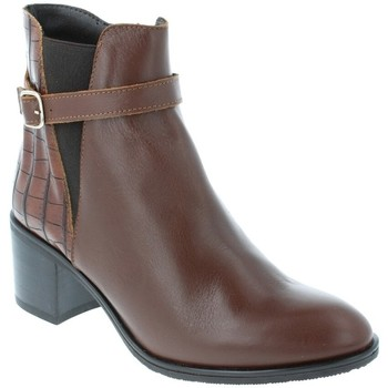 Chaussures Femme Bottines Amoa Bottines COURGIS Zip MARRON CROCO