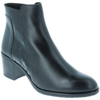 Chaussures Femme Bottines Amoa Bottines COURTAIN Zip NOIR CROCO