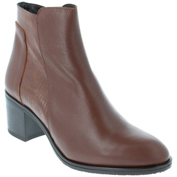 Chaussures Femme Bottines Amoa Bottines COURTAIN Zip MARRON/SERPENT