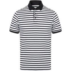 Vêtements Homme Polos manches courtes Front Row FR230 Blanc / bleu marine