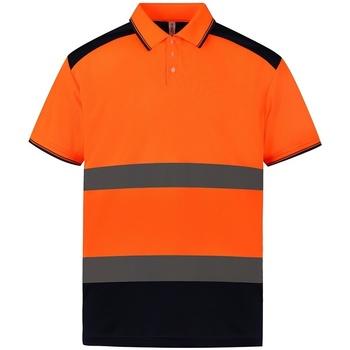 Vêtements Polos manches courtes Yoko YK017 Orange / bleu marine