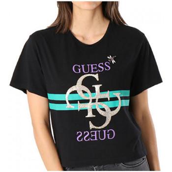 Vêtements Femme Polos manches courtes Guess T-Shirt Femme Iris W83I10 Noir (rft) Noir