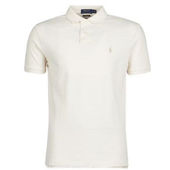 Vêtements Homme Polos manches courtes Polo Ralph Lauren POLO CINTRE SLIM FIT EN COTON BASIC Ecru