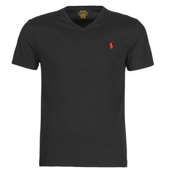 Vêtements Homme T-shirts manches courtes Polo Ralph Lauren T-SHIRT AJUSTE COL V EN COTON Noir