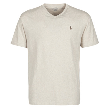 Vêtements Homme T-shirts manches courtes Polo Ralph Lauren T-SHIRT AJUSTE COL V EN COTON LOGO PONY PLAYER Beige Expedition Dune Heather