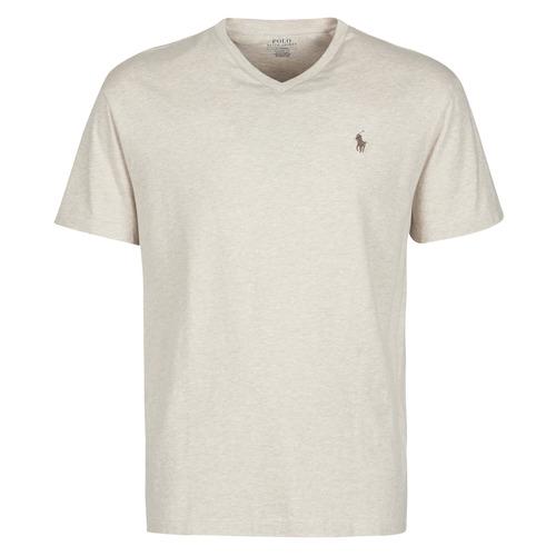 Vêtements Homme T-shirts manches courtes Polo Ralph Lauren T-SHIRT AJUSTE COL V EN COTON Beige