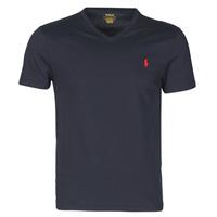 Vêtements Homme T-shirts manches courtes Polo Ralph Lauren T-SHIRT AJUSTE COL V EN COTON Bleu