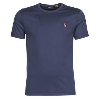 Vêtements Homme T-shirts manches courtes Polo Ralph Lauren T-SHIRT AJUSTE COL ROND EN PIMA COTON Bleu
