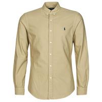 Vêtements Homme Chemises manches longues Polo Ralph Lauren CHEMISE CINTREE SLIM FIT EN OXFORD LEGER Beige