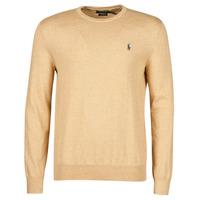 Vêtements Homme Pulls Polo Ralph Lauren PULL COL ROND AJUSTE EN COTON PIMA Camel