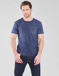 Vêtements Homme T-shirts manches courtes Polo Ralph Lauren T-SHIRT AJUSTE COL ROND EN COTON Bleu