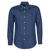 Vêtements Homme Chemises manches longues Polo Ralph Lauren CHEMISE AJUSTEE EN LIN COL BOUTONNE Bleu