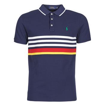 Vêtements Homme Polos manches courtes Polo Ralph Lauren POLO AJUSTE DROIT RAYE Marine