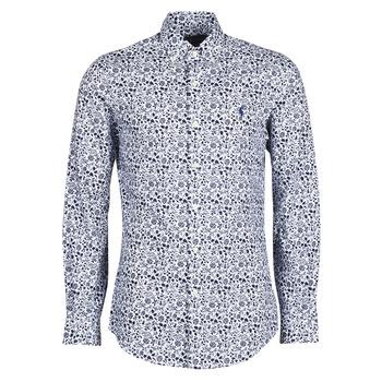 Vêtements Homme Chemises manches longues Polo Ralph Lauren CHEMISE CINTREE SLIM FIT EN POPLINE DE COTON COL BOUTONNE Bleu