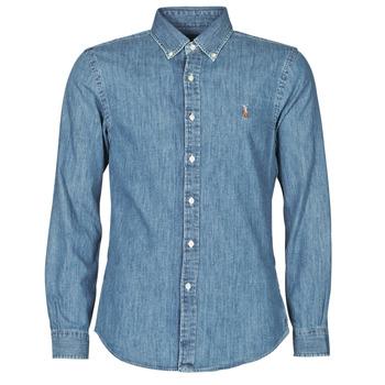Vêtements Homme Chemises manches longues Polo Ralph Lauren CHEMISE CINTREE SLIM FIT EN JEAN DENIM BOUTONNE Bleu