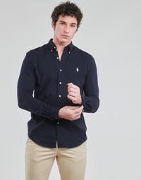 Vêtements Homme Chemises manches longues Polo Ralph Lauren CHEMISE AJUSTEE COL BOUTONNE EN POLO FEATHERWEIGHT Marine
