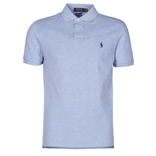 Vêtements Homme Polos manches courtes Polo Ralph Lauren POLO AJUSTE DROIT EN COTON BASIC MESH Bleu