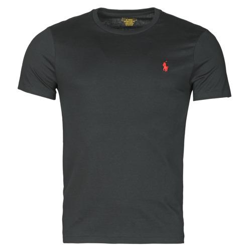 Vêtements Homme T-shirts manches courtes Polo Ralph Lauren T-SHIRT AJUSTE COL ROND EN COTON Noir