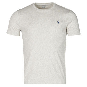 Vêtements Homme T-shirts manches courtes Polo Ralph Lauren T-SHIRT AJUSTE COL ROND EN COTON LOGO PONY PLAYER Gris