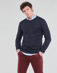 Vêtements Homme Pulls Polo Ralph Lauren PULL COL ROND AJUSTE EN COTON PIMA Bleu