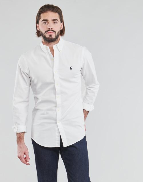 Vêtements Homme Chemises manches longues Polo Ralph Lauren CHEMISE CINTREE SLIM FIT EN OXFORD LEGER Blanc