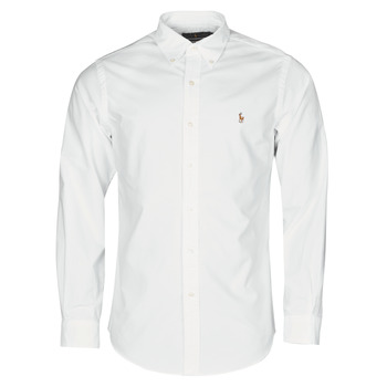 Vêtements Homme Chemises manches longues Polo Ralph Lauren CHEMISE AJUSTEE EN OXFORD COL BOUTONNE Blanc