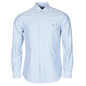 Vêtements Homme Chemises manches longues Polo Ralph Lauren CHEMISE AJUSTEE EN OXFORD COL BOUTONNE Bleu
