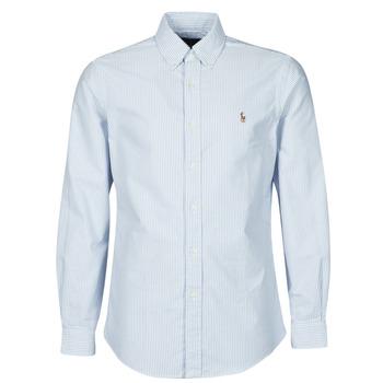 Vêtements Homme Chemises manches longues Polo Ralph Lauren CHEMISE AJUSTEE EN OXFORD COL BOUTONNE Bleu / Blanc