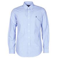 Vêtements Homme Chemises manches longues Polo Ralph Lauren CHEMISE AJUSTEE EN POPLINE DE COTON COL BOUTONNE Bleu / Blanc