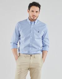 Vêtements Homme Chemises manches longues Chemise Cintree Slim Fit En CHEMISE AJUSTEE EN POPLINE DE COTON COL BOUTONNE Bleu / Blanc